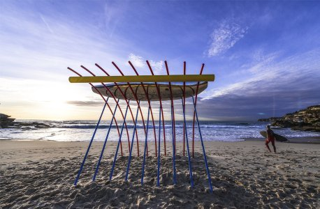 Surf board rack on the beach