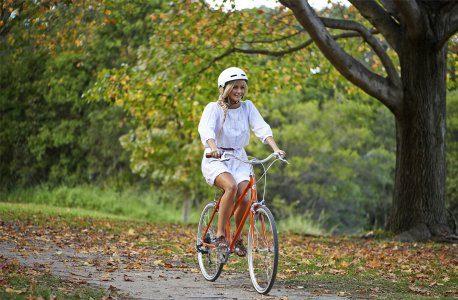 Lady riding a bike