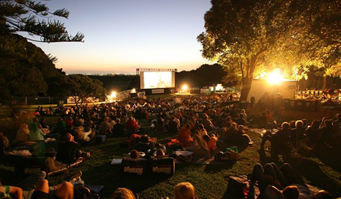 Photograph of the Moonlight Cinema in Centennial Park.