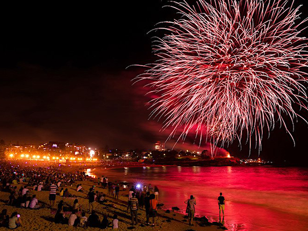 New Years Eve fireworks from Coogee Beach, Sydney