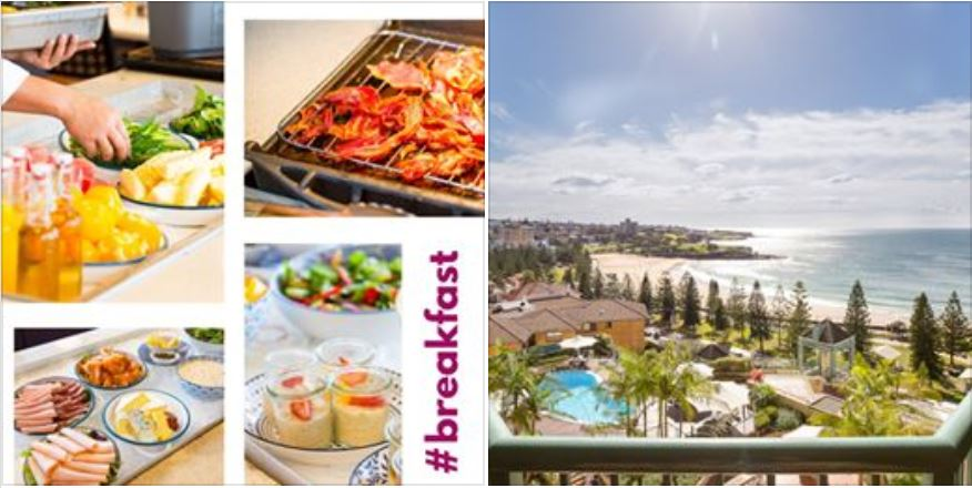 Accommodation with breakfast at Coogee Beach hotel, Crowne Plaza Coogee Beach