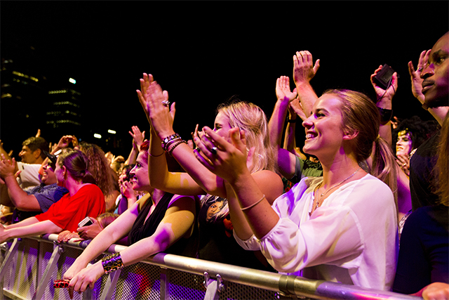 Crowds enjoying a concert at The Domain, Sydney during the Sydney Festival, Photograph: Destination NSW