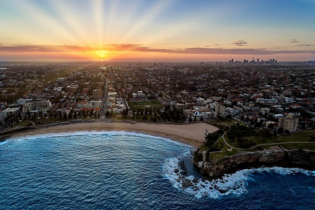 Drone photography of sunset across Coogee Beach