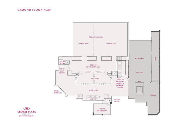Ground floor plan at Crowne Plaza Sydney Coogee Beach
