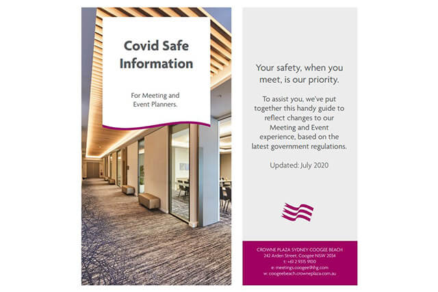 Covid safe meeting & events information at Cronwe Plaza Sydney Coogee Beach
