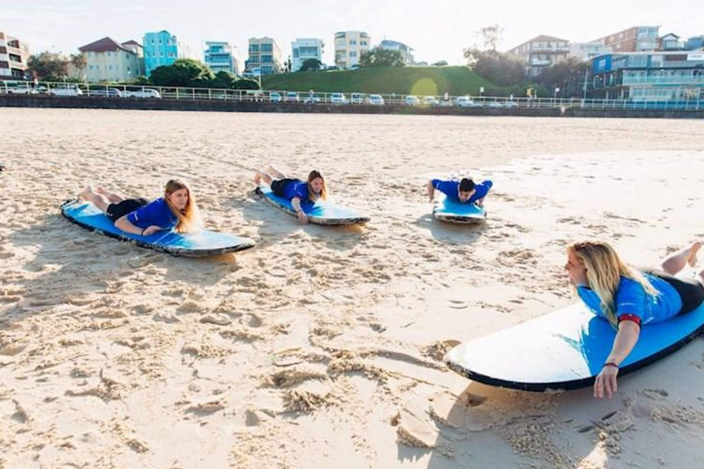 Surf school at Bondi Beach