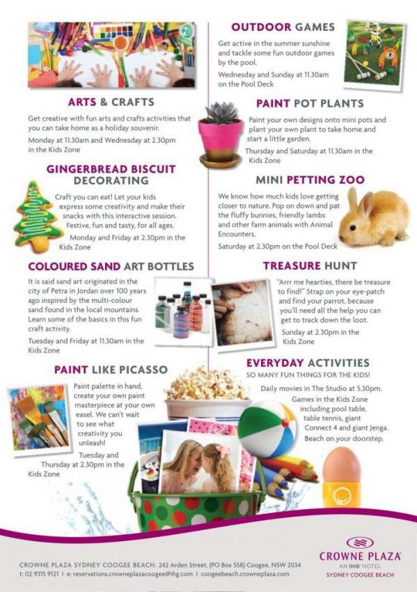Summer school holiday activities in Coogee Beach