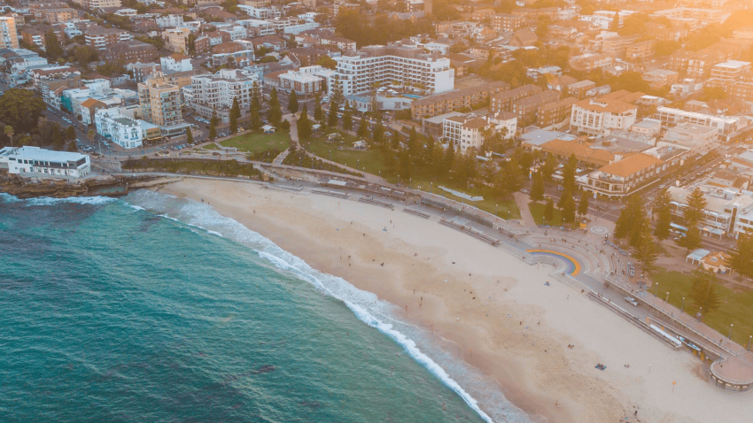 Areal view of Coogee Beach and surrounding coastline